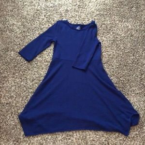 So royal blue skater dress with unique hem line